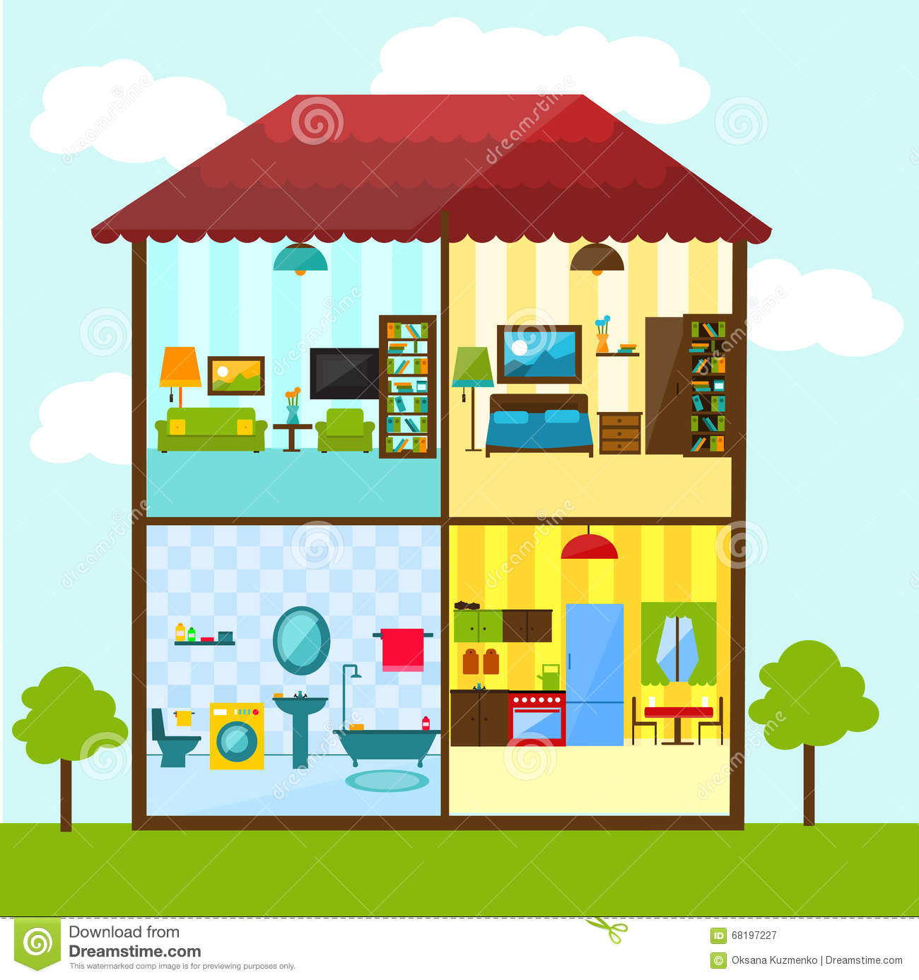 Cross Section Of House In Flat Style Illustration Stock