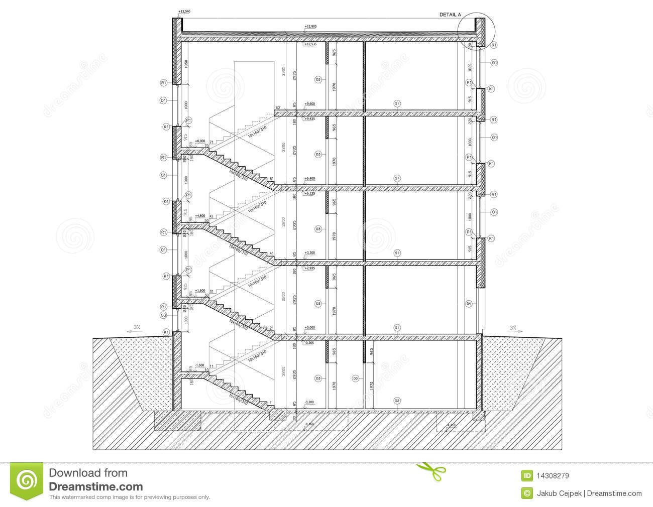 Cross Section Of Small Office Building Royalty Free Stock