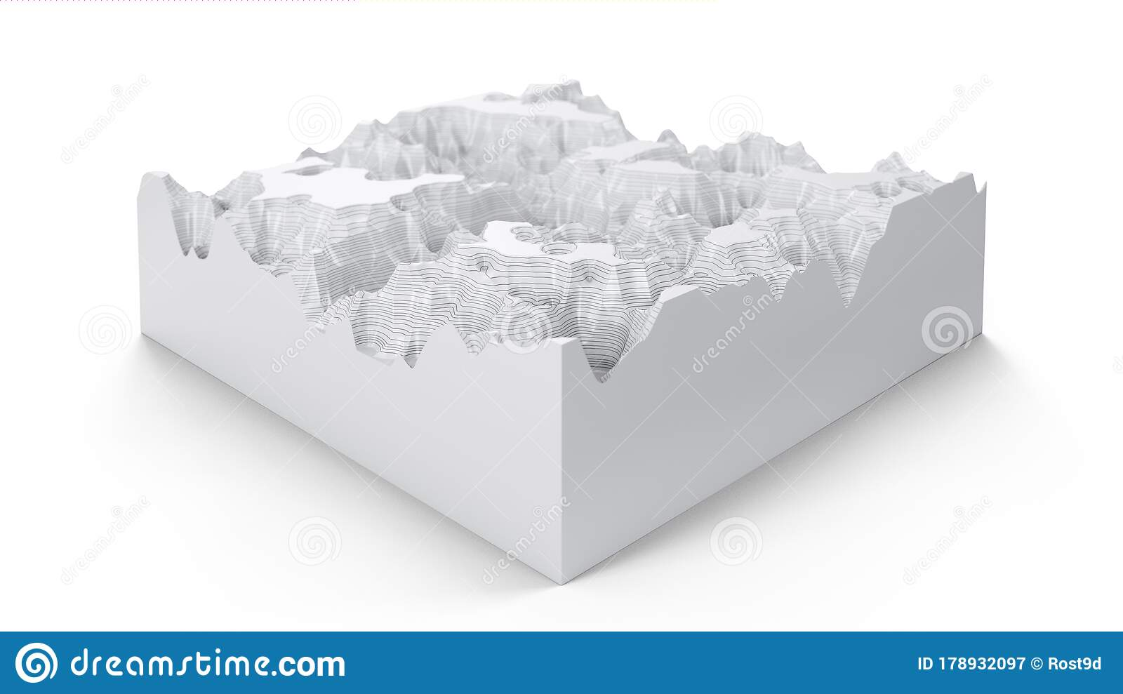 Cross Section Topographic Three Dimensional Map Contour