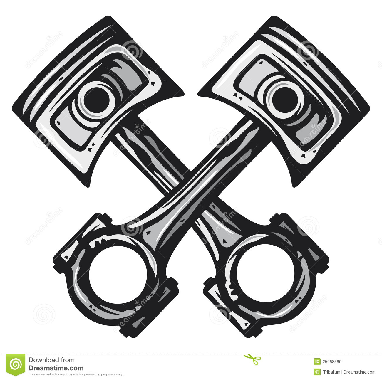 Crossed Engine Pistons Stock Photo