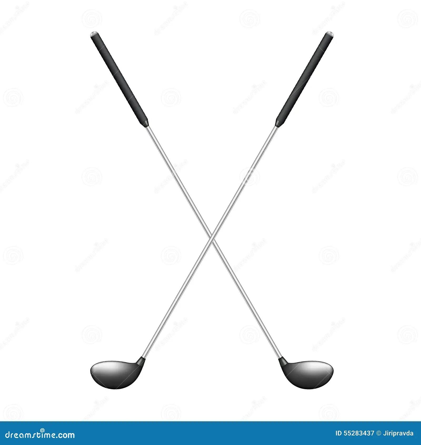 Crossed Golf Clubs In Retro Design Stock Vector
