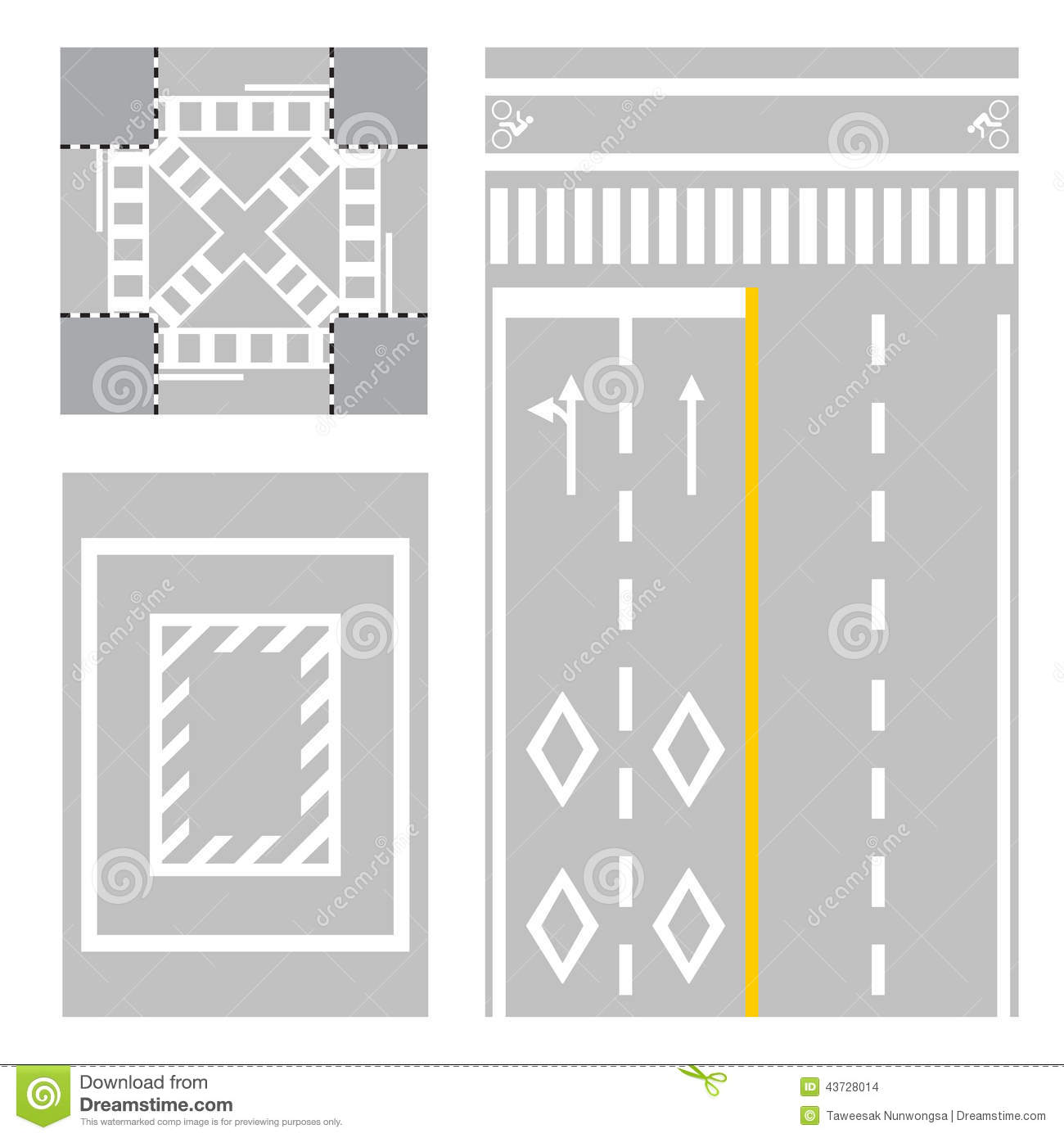Crossing Street Safety Zone Sign On Street Stock Vector
