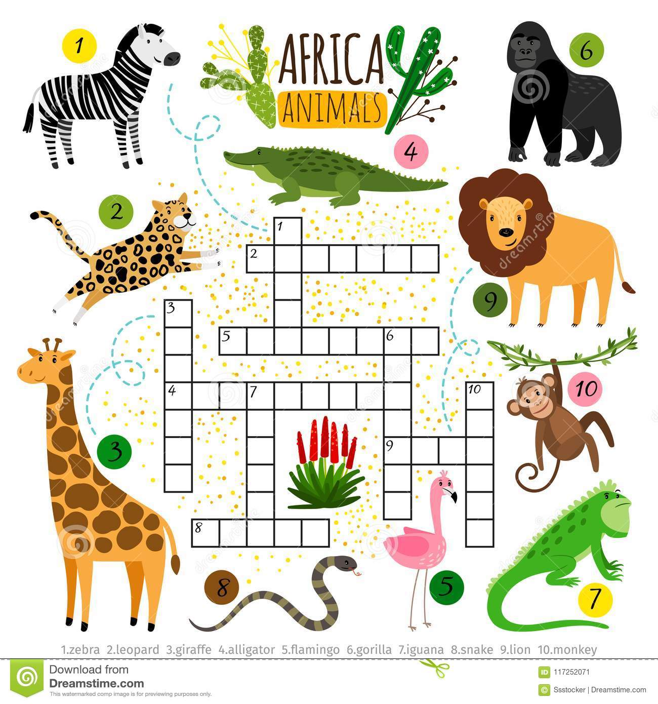 Crossword Africa Animals Kids Zoo African Crossword For