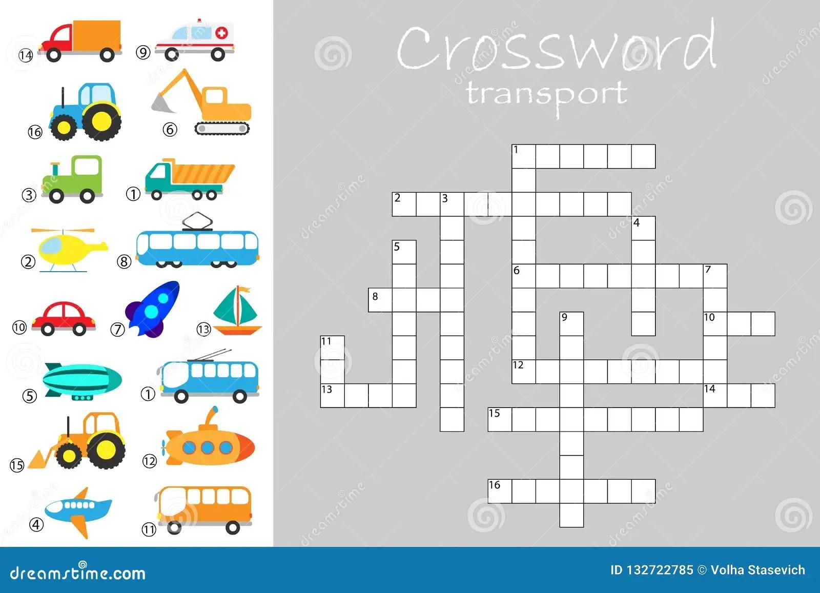 Crossword For Children Different Transport Theme Fun