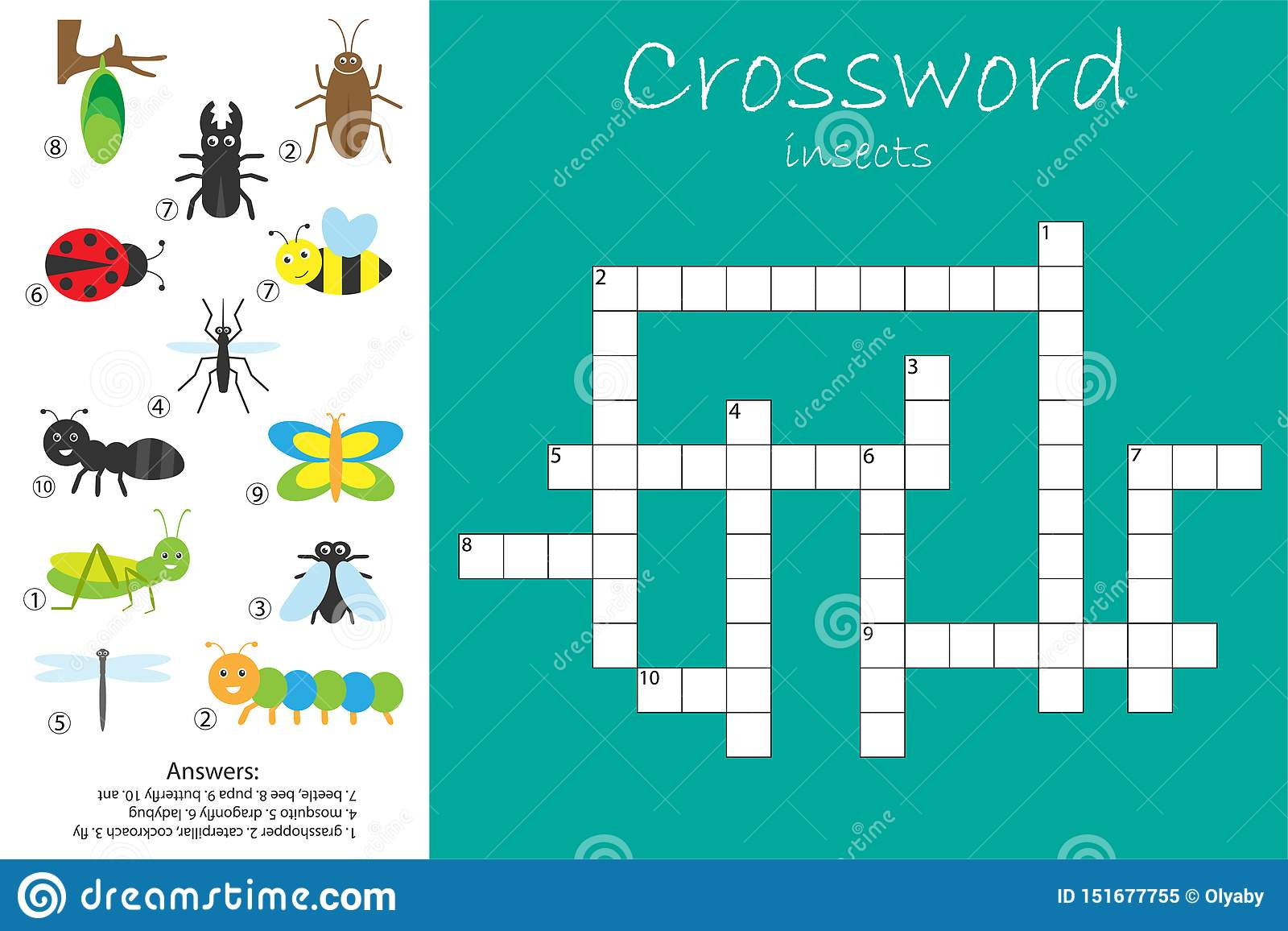 Crossword For Children Insect Theme Fun Education Game