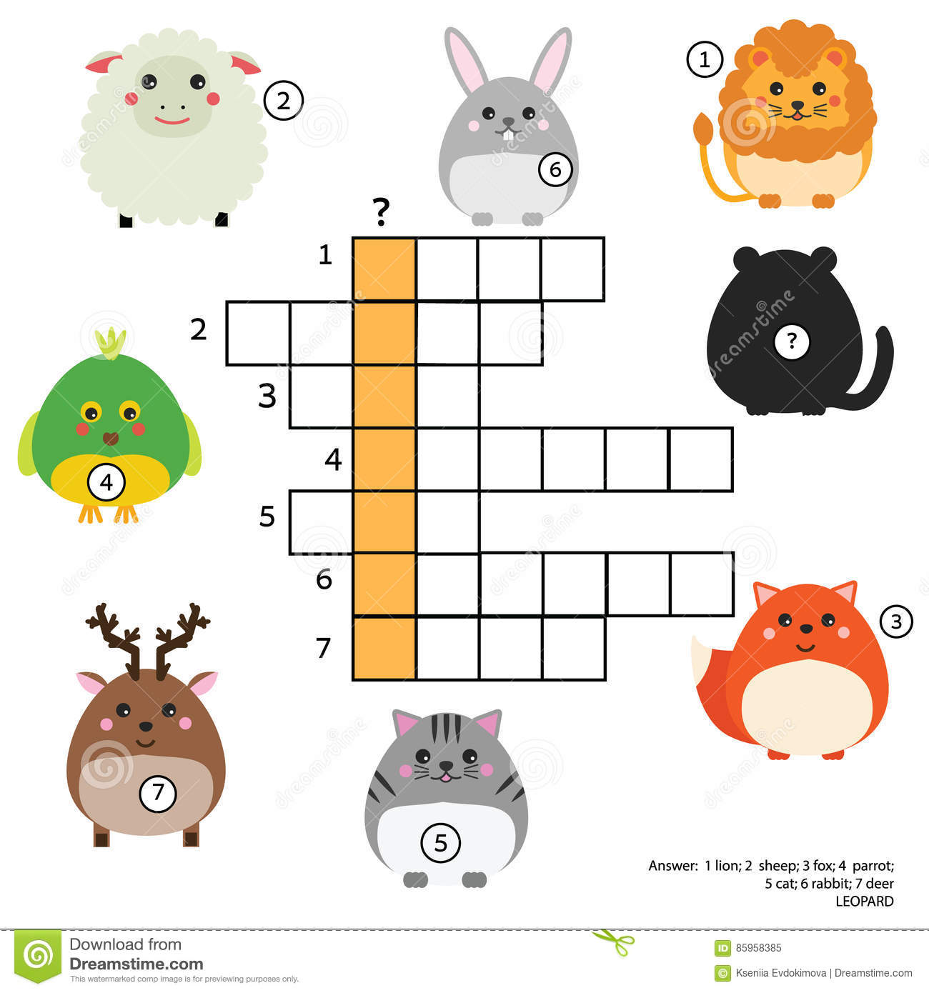 Crossword Educational Children Game With Answer Animals