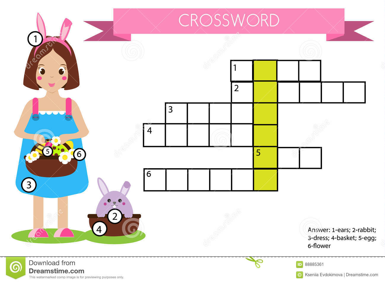 Crossword Educational Children Game With Answer Easter
