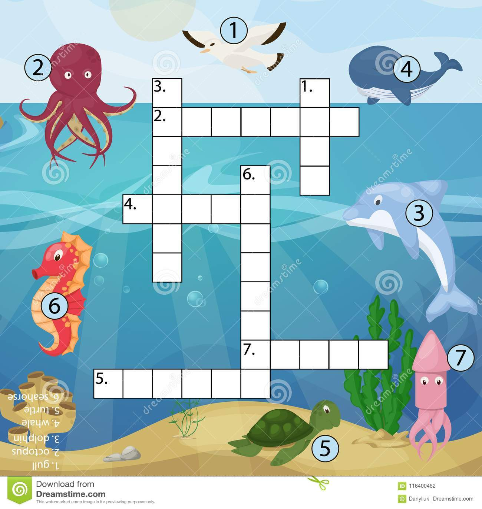 Crossword Kids Magazine Book Puzzle Game Of Sea Underwater