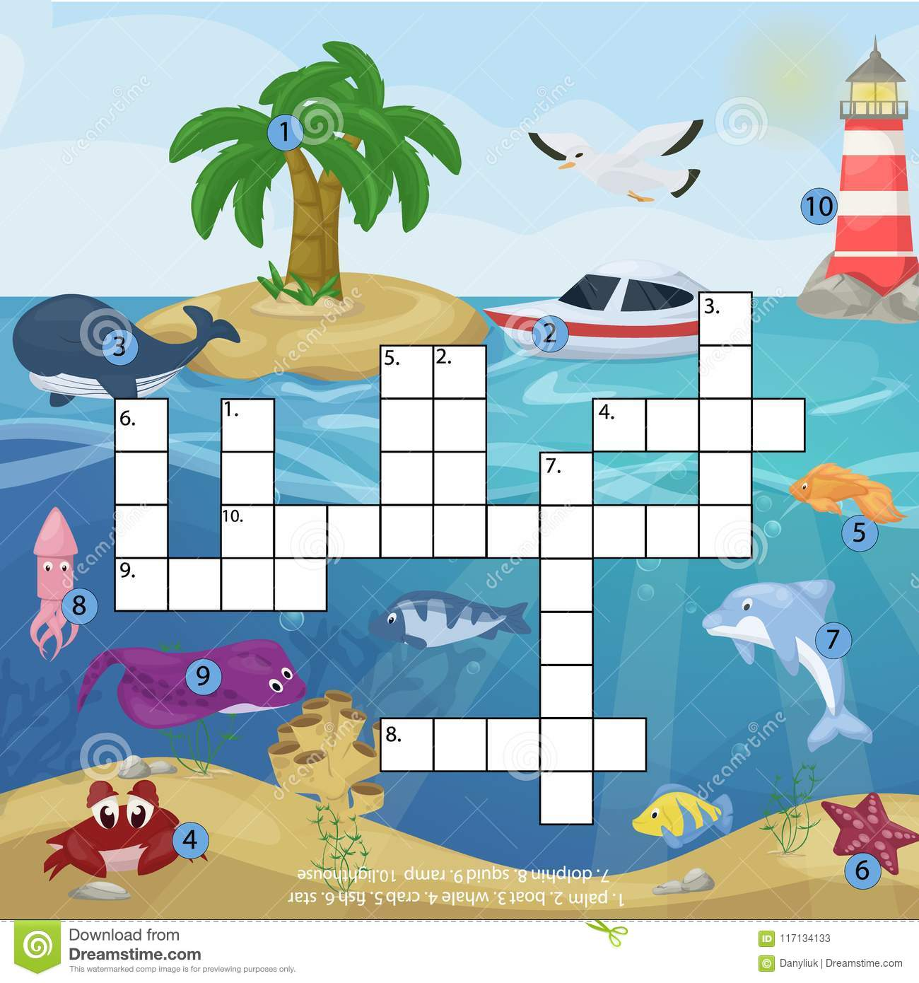 Crossword Kids Magazine Book Puzzle Game Of Sea Underwater