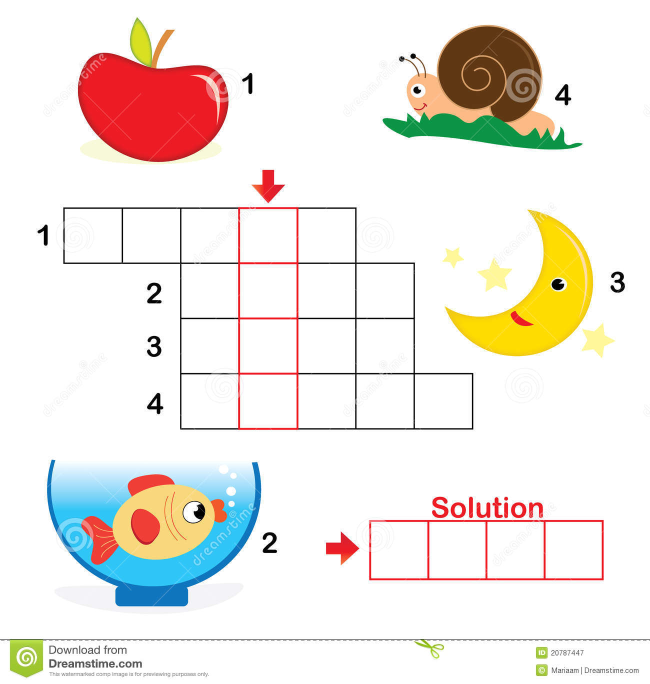 Crossword Puzzle For Children Part 1 Stock Vector