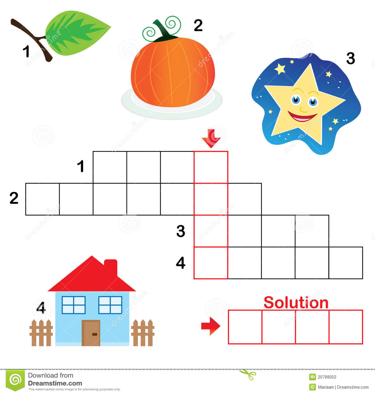 Crossword Puzzle For Children Part 3 Stock Photography