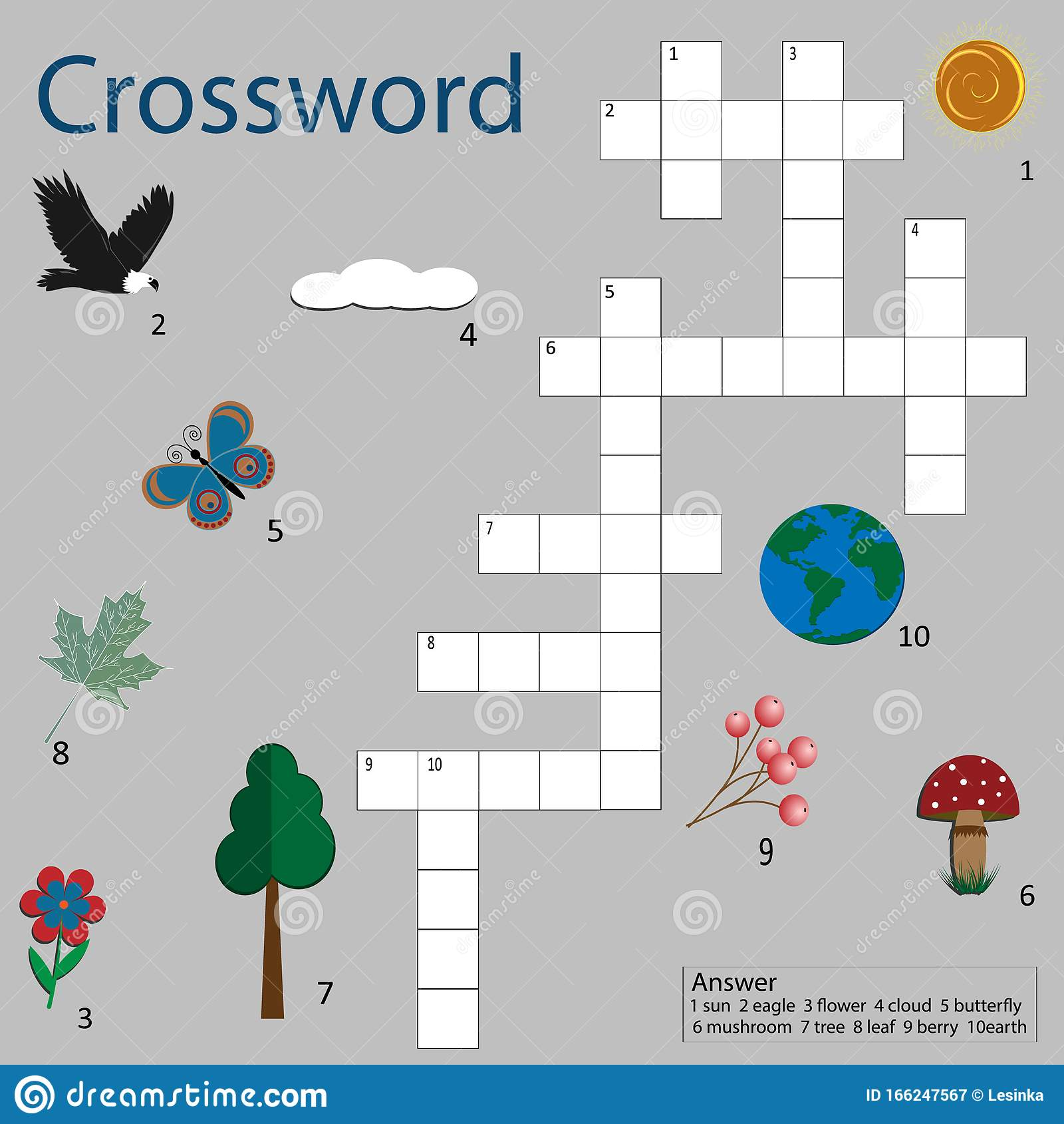 Crossword Puzzle Game For Kids Nature Theme Light Gray