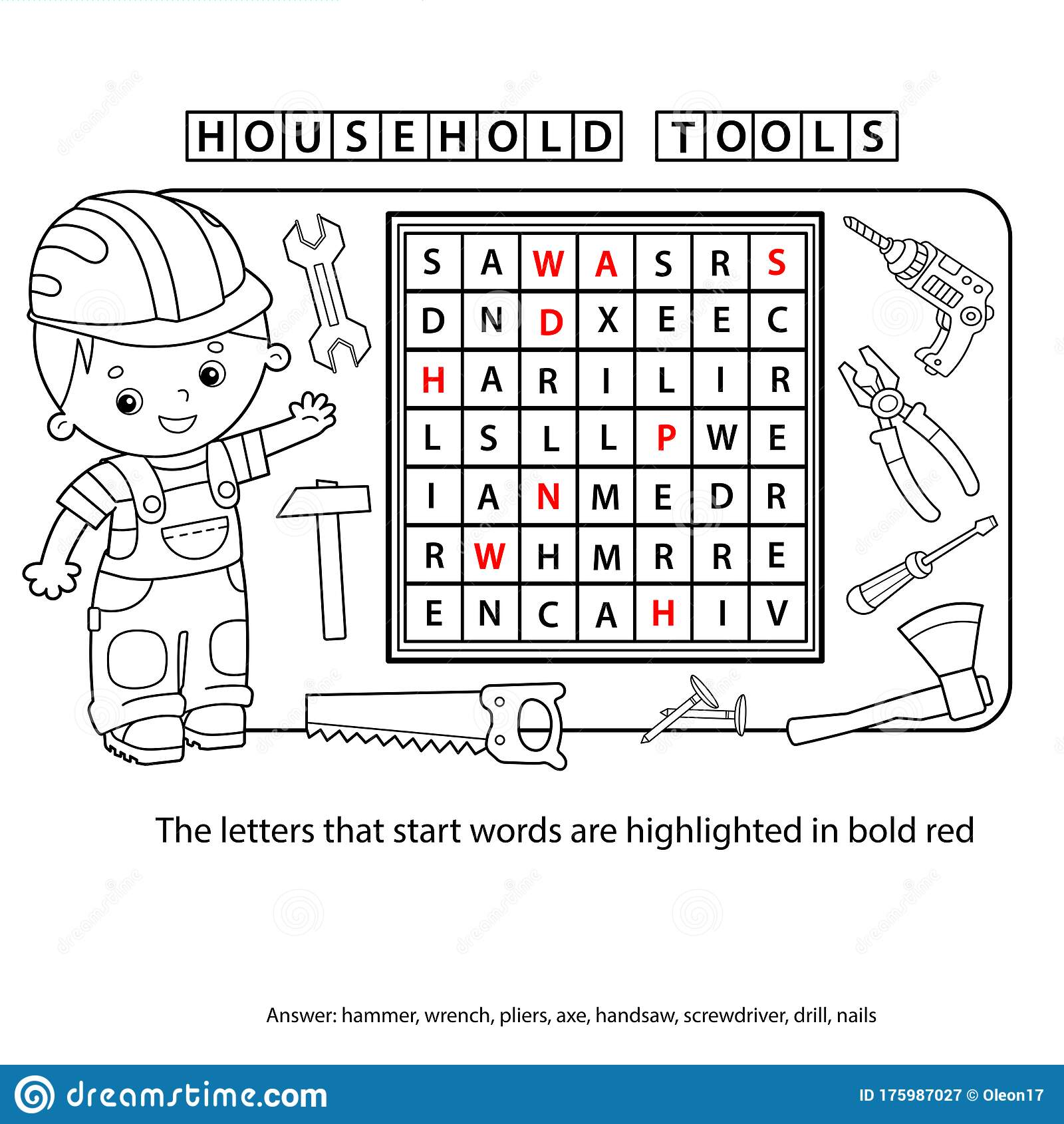 Crossword Puzzle For Preschool Children Set Of Household