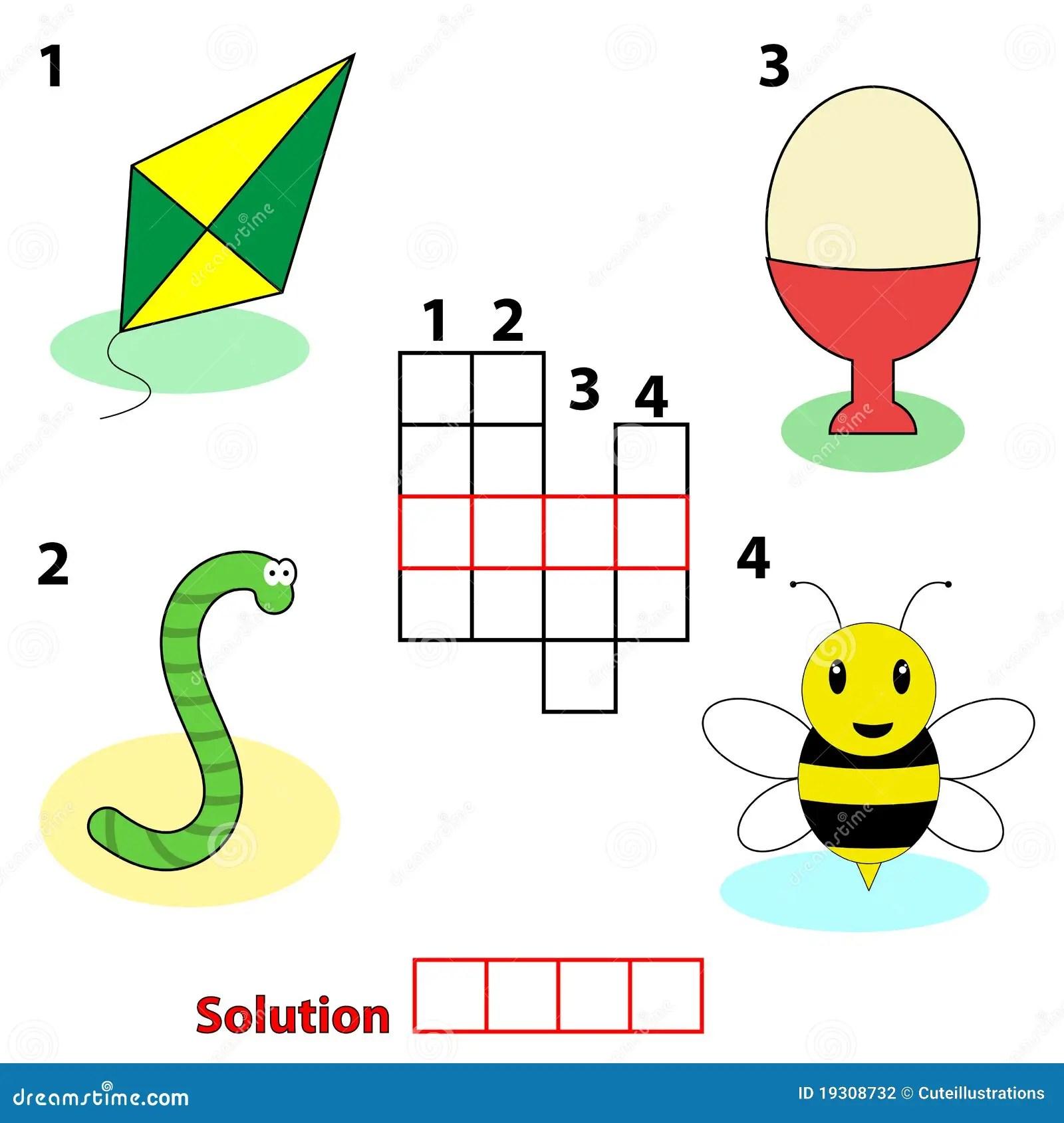 Crossword Words Game For Children Stock Vector