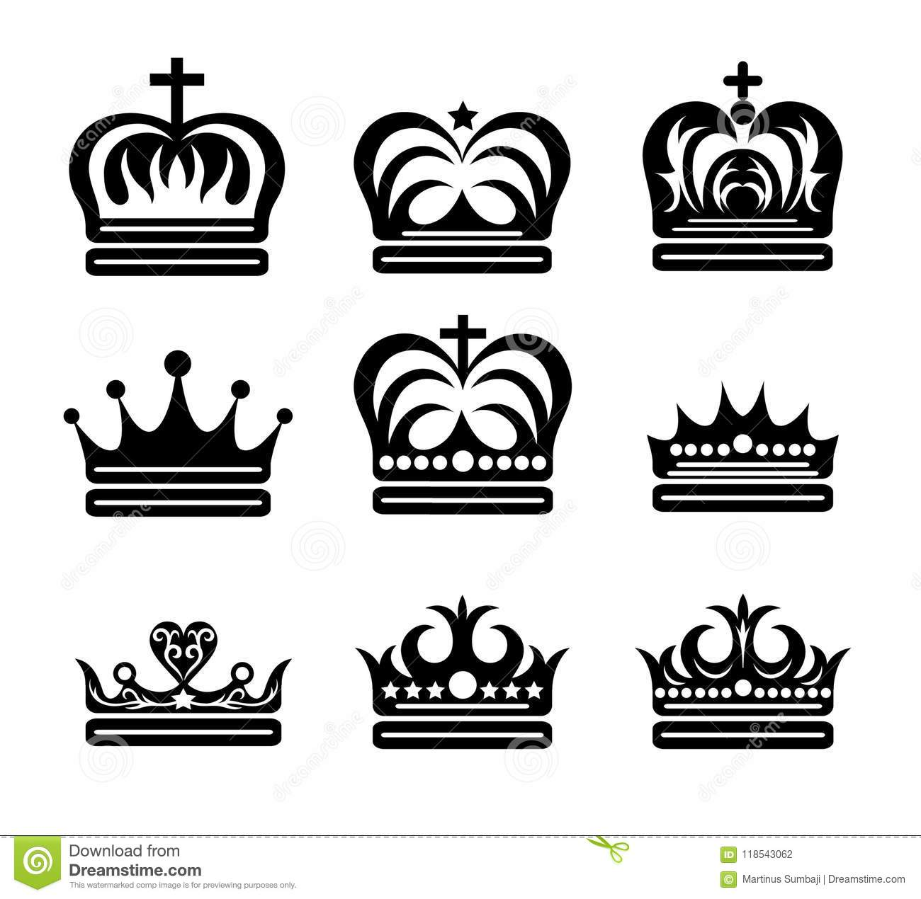 Crown King And Queen Silhouettes Art Vector Design Stock