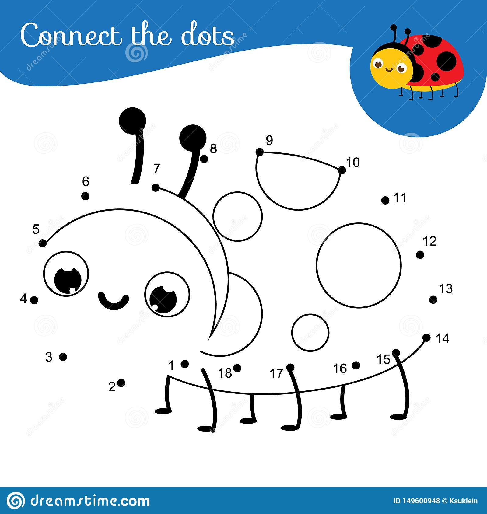 Crtoon Ladybug Connect The Dots Dot To Dot By Numbers