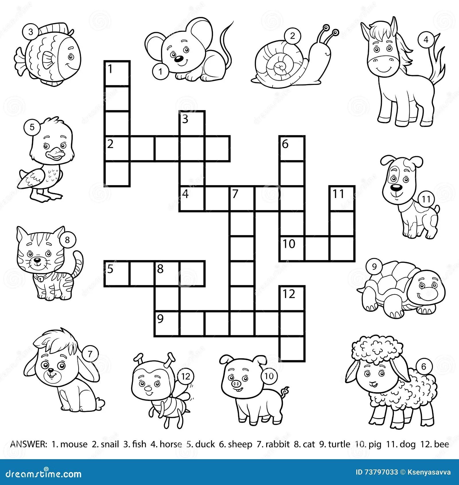 Crucigrama Blanco Y Negro Del Vector Sobre Animales Domesticos Ilustracion Del Vector