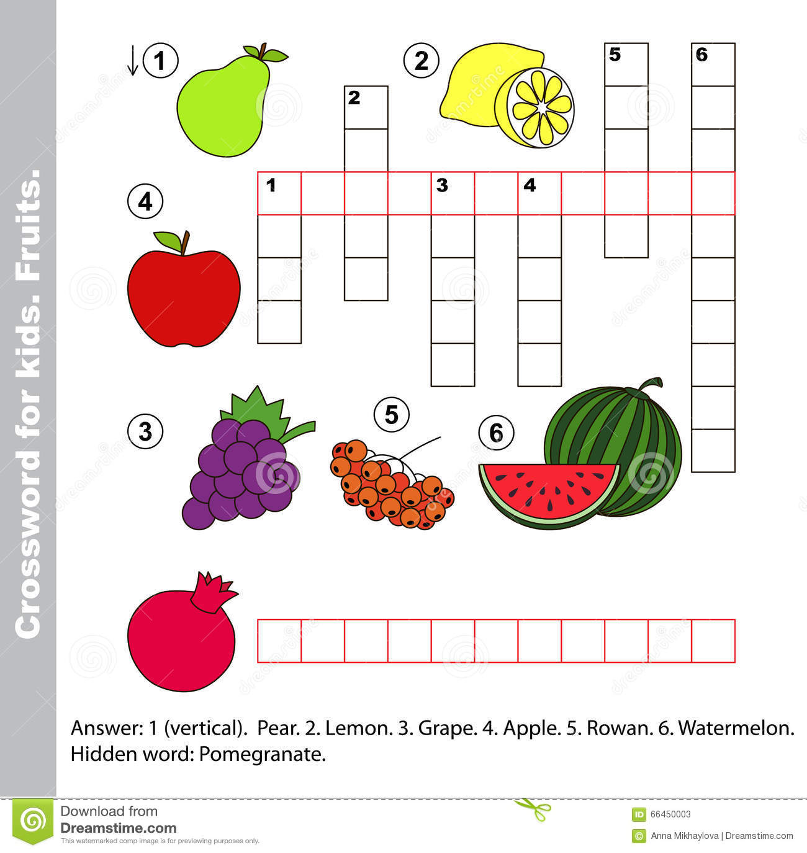 Crucigrama De La Fruta Para Los Ninos Ilustracion Del