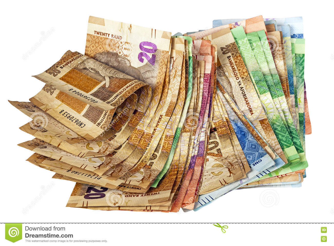 Crumpled Stack Of South African Rand Bank Notes Stock