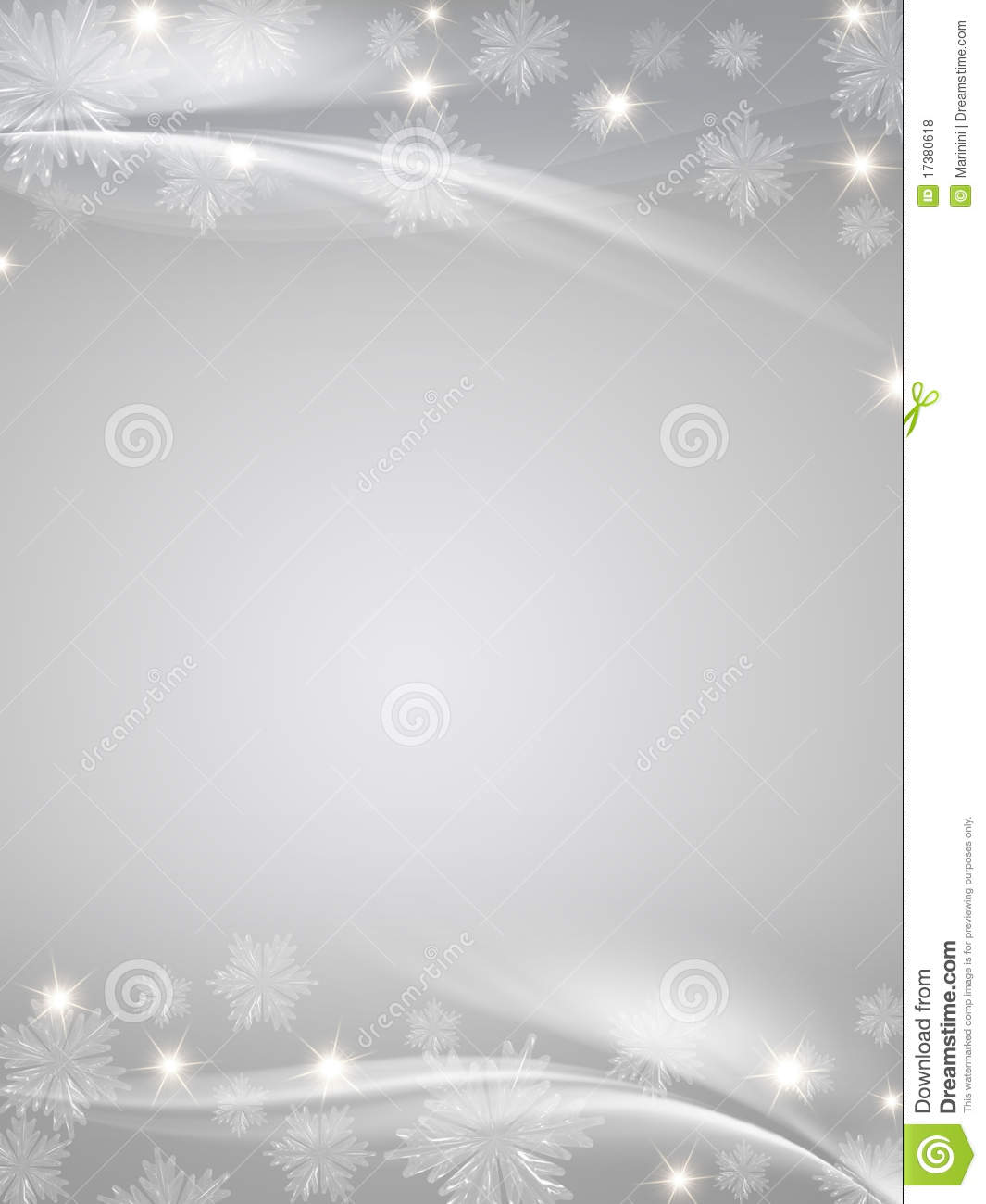 Crystal Snowflakes Grey Background Royalty Free Stock