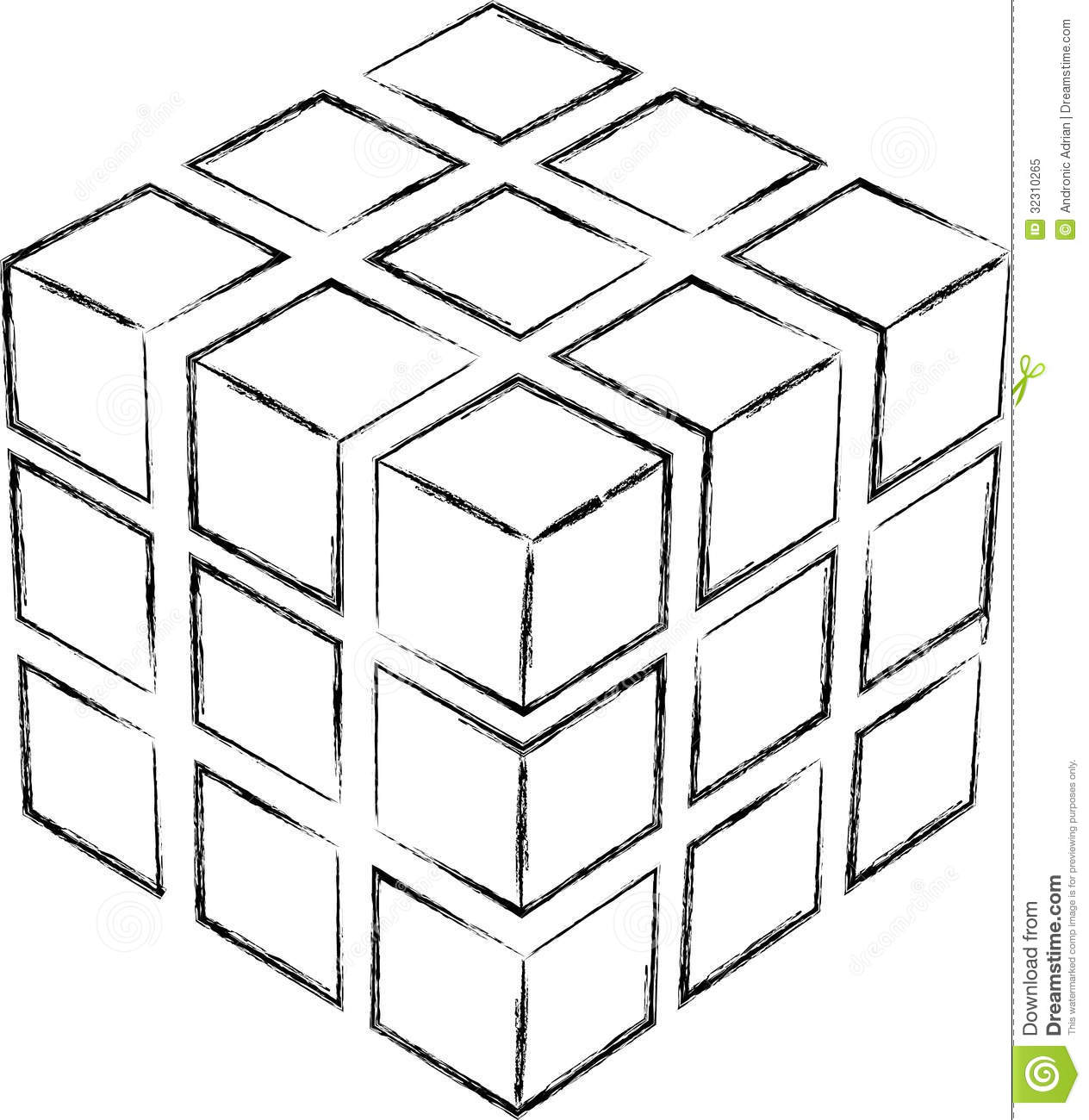 Cube Sketch Royalty Free Stock Photo