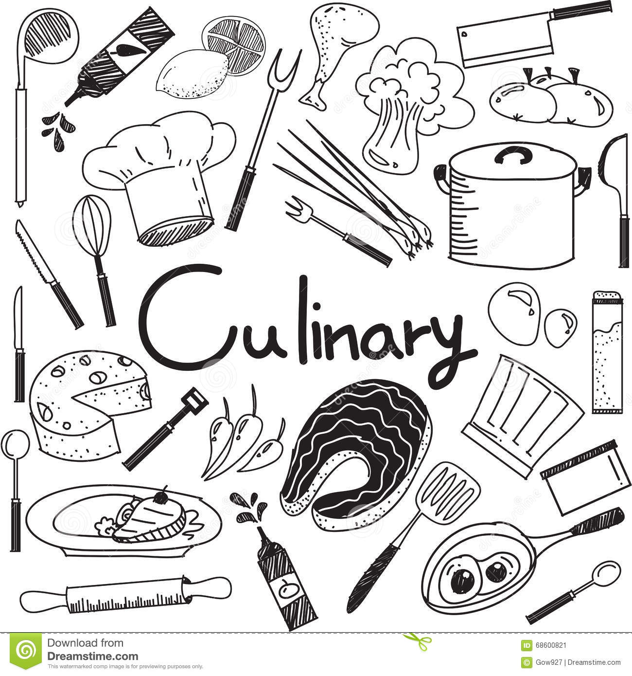 Culinary And Cooking Doodle Of Food Ingre Nts And Tool