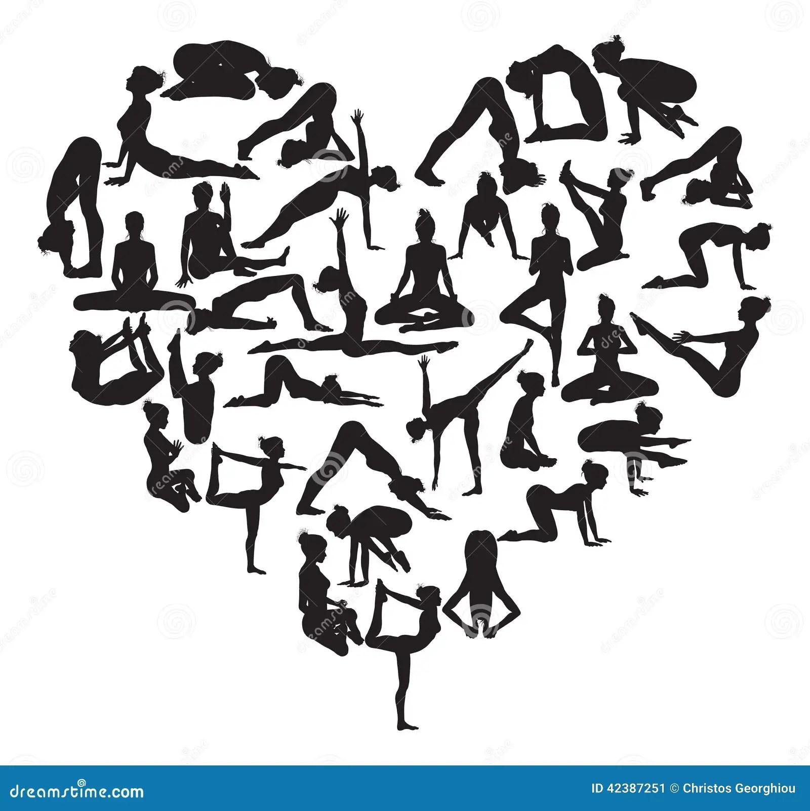 Cuore Di Yoga Illustrazione Vettoriale Illustrazione Di
