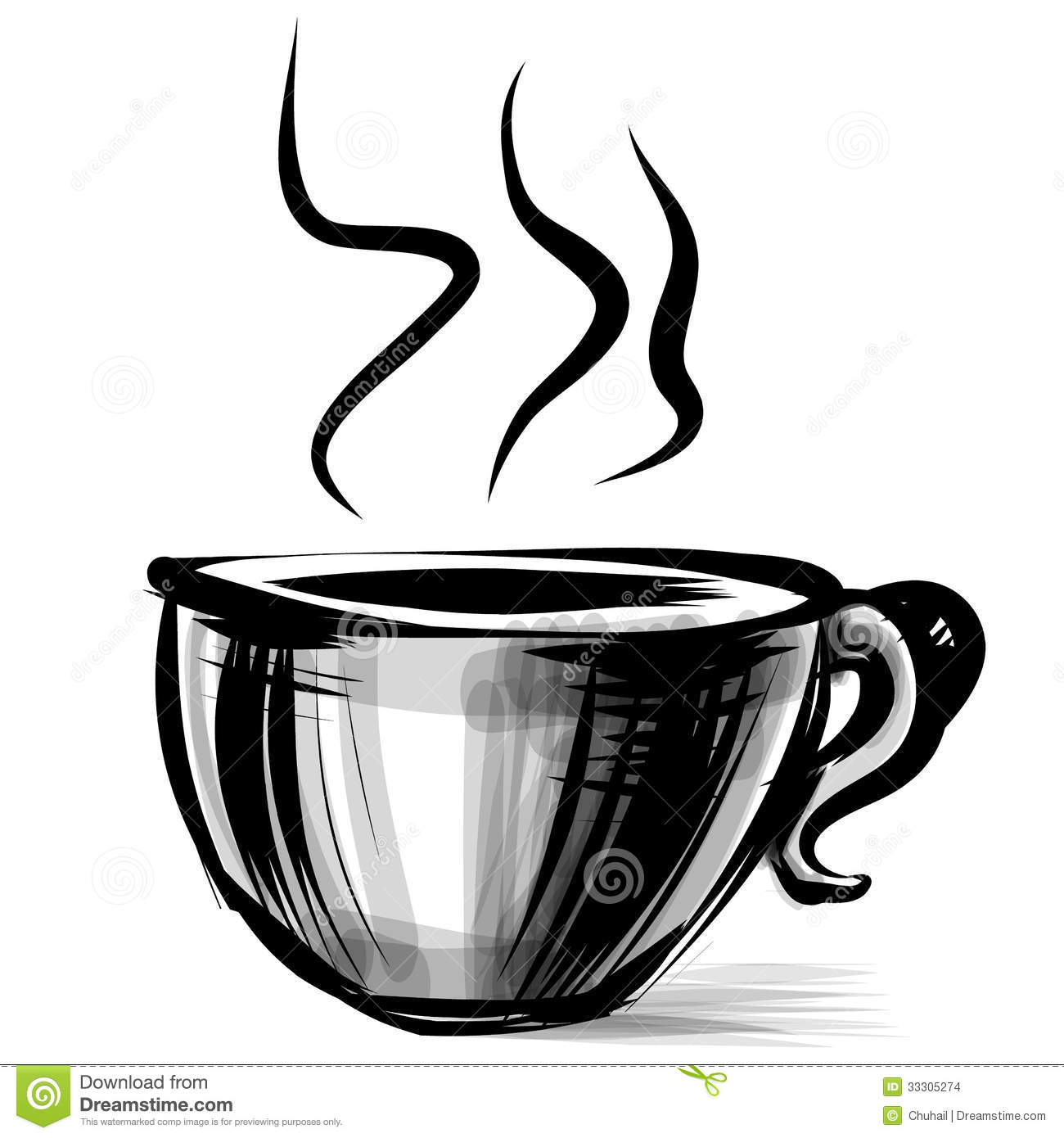 Cup With Steam Stylized On White Stock Images