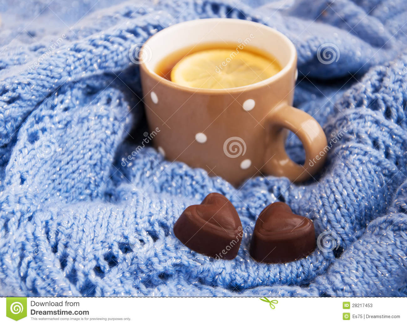 Cup Of Tea In The Winter Stock Image Image Of Textile