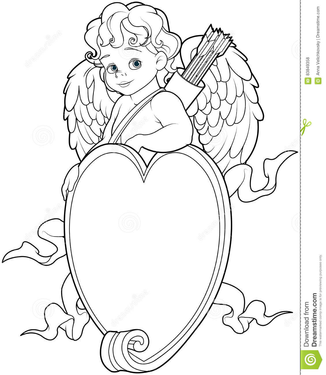 Cupid Over A Heart Shape Sign Coloring Page Stock Vector
