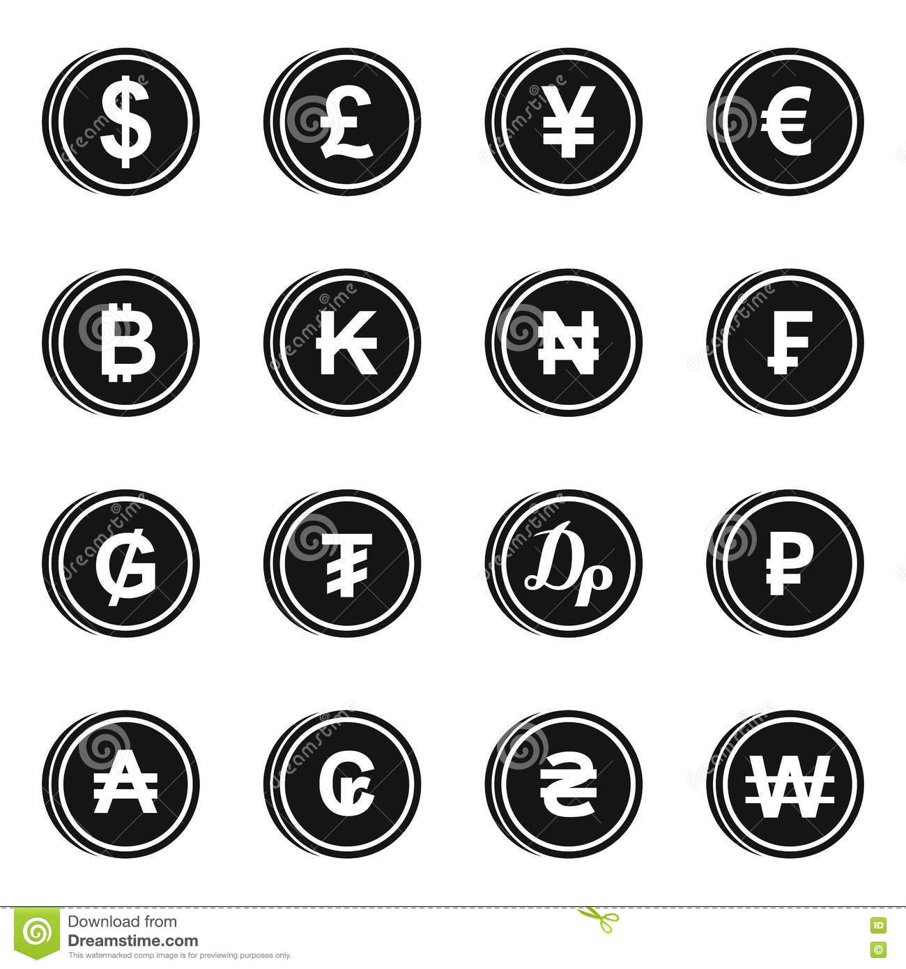 Currency From Different Countries Icons Set Vector
