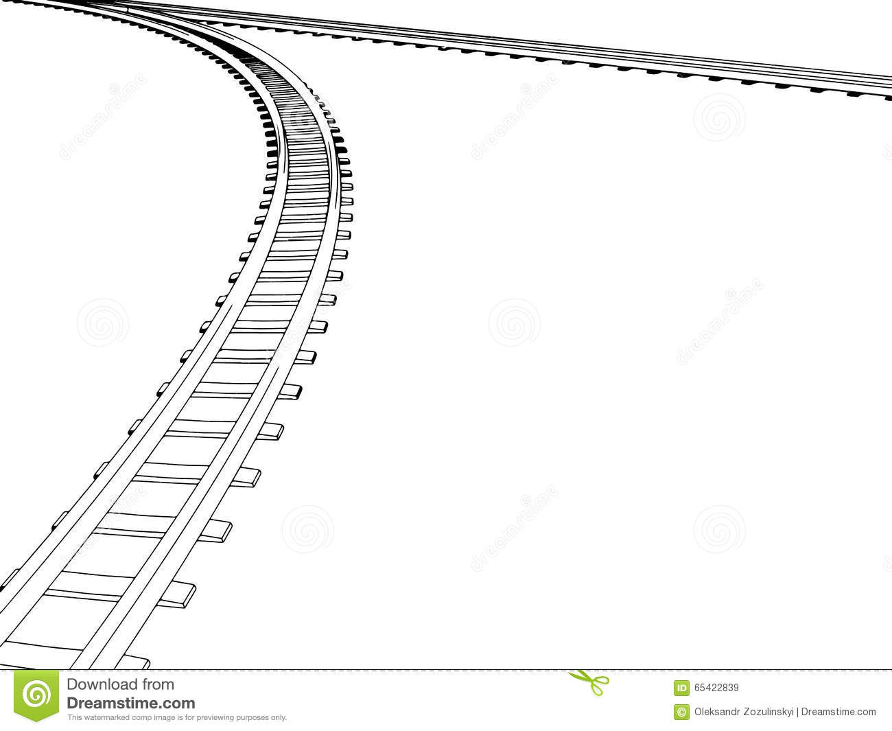 Curved Train Tracks Cartoon