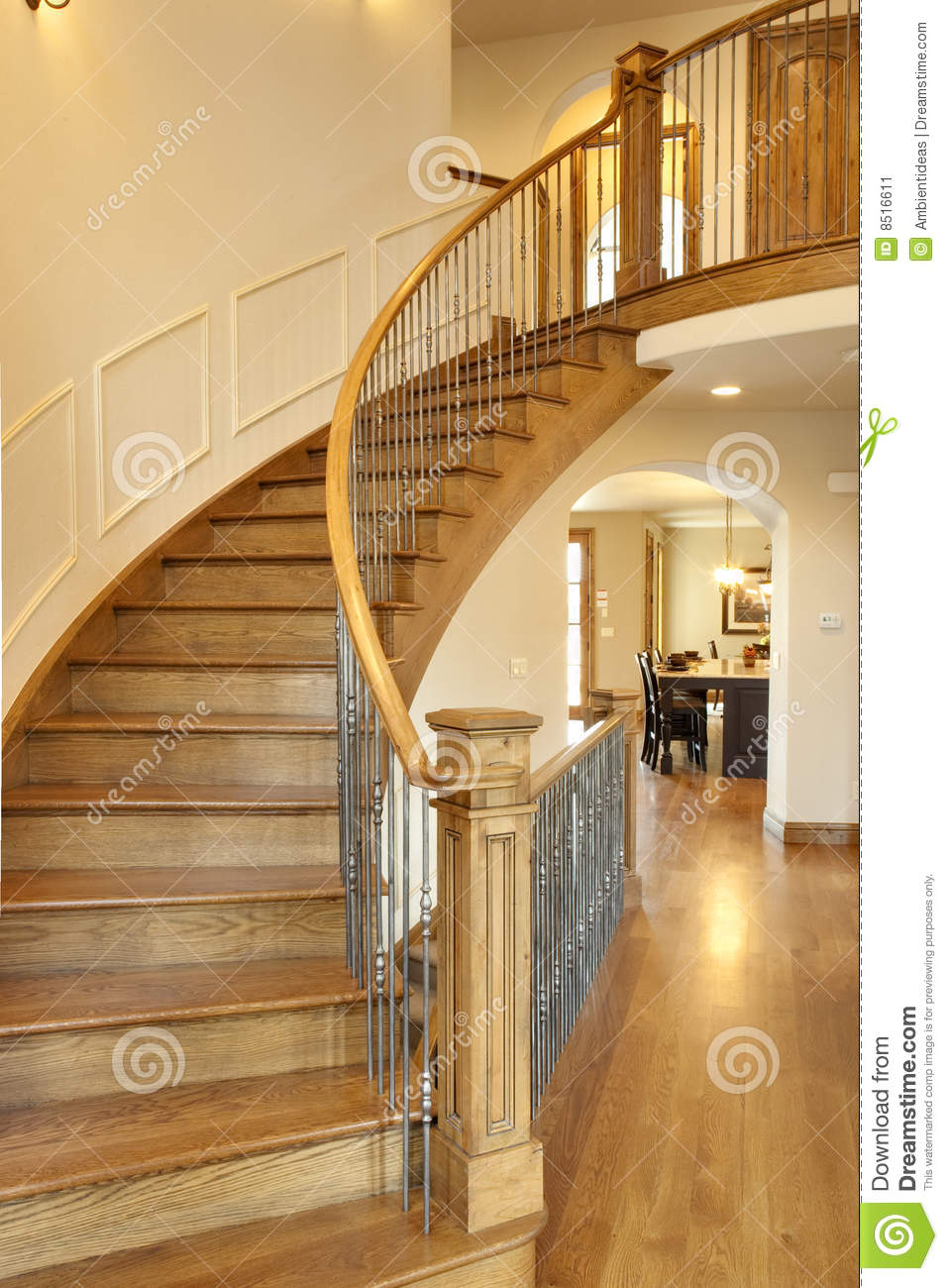 Curved Oak Staircase Stock Image Image Of Story Custom 8516611