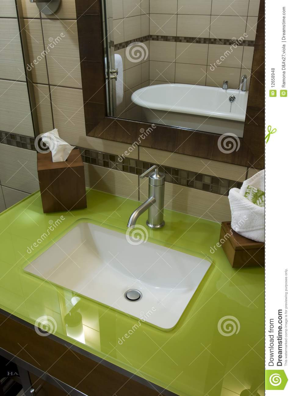 Custom Bathroom With Green Glass Countertops Royalty Free