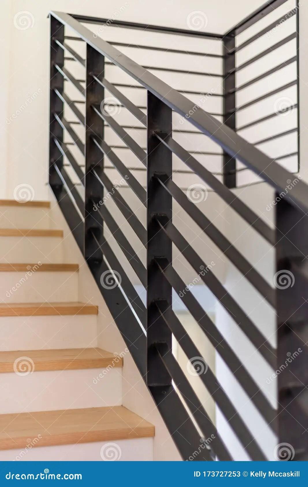 Custom Black Metal Stair Railing Stock Image Image Of Detail | Black Steel Stair Railing | Custom | Wood | Residential Indoor Residential Glass | Stainless Steel | Concrete