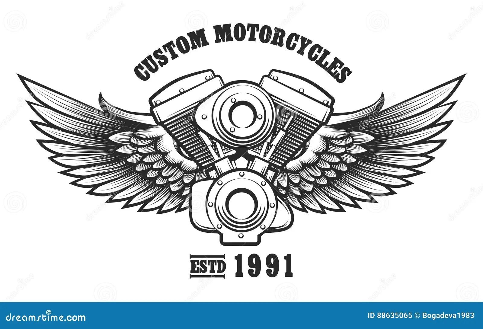 Custom Motorcycle Workshop Emblem Stock Vector