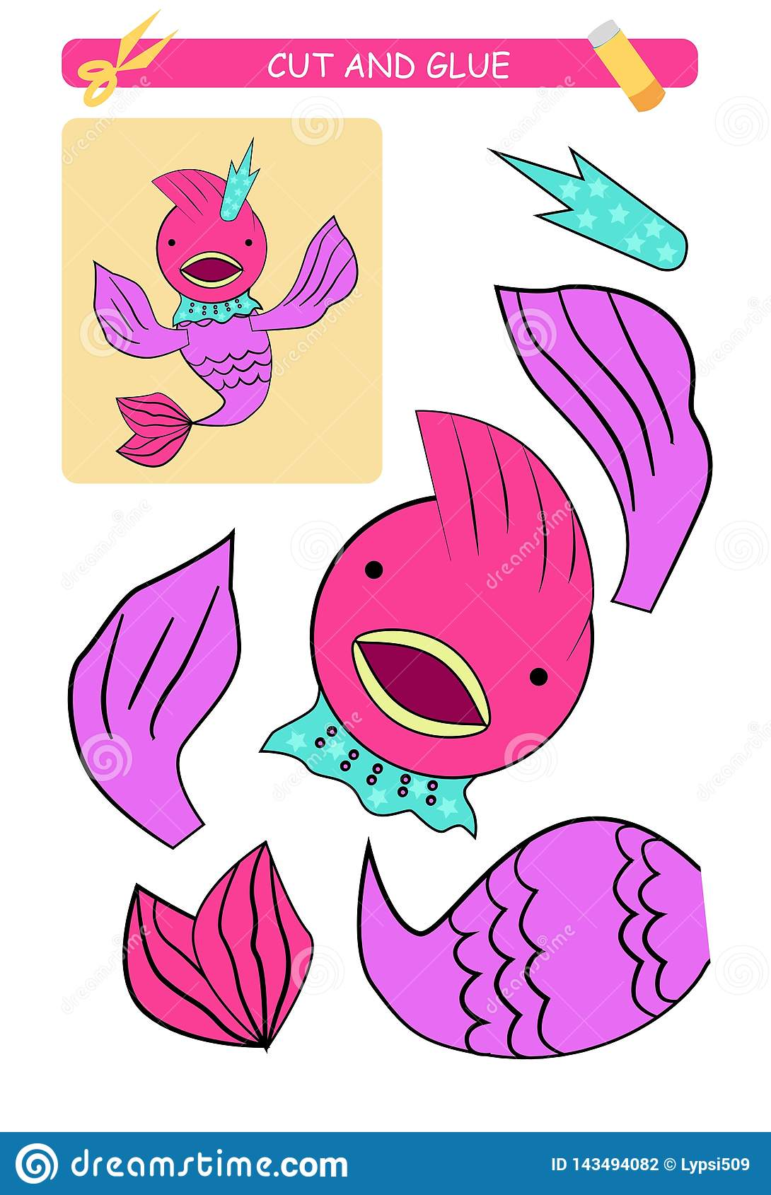 Cut And Glue Worksheet Fish Educational Game For Kids