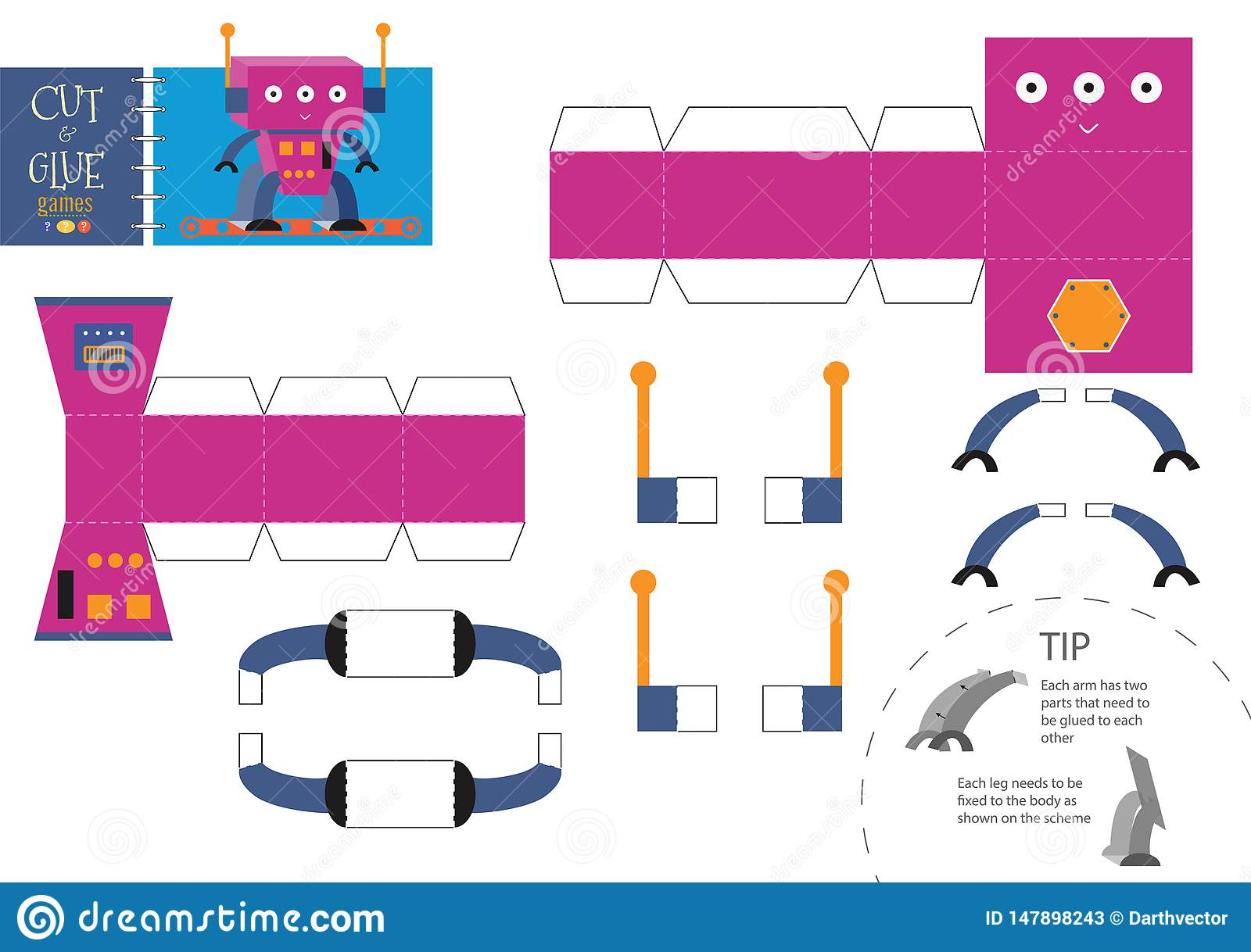Cut And Glue Cartoon Robot Toy Vector Illustration Paper