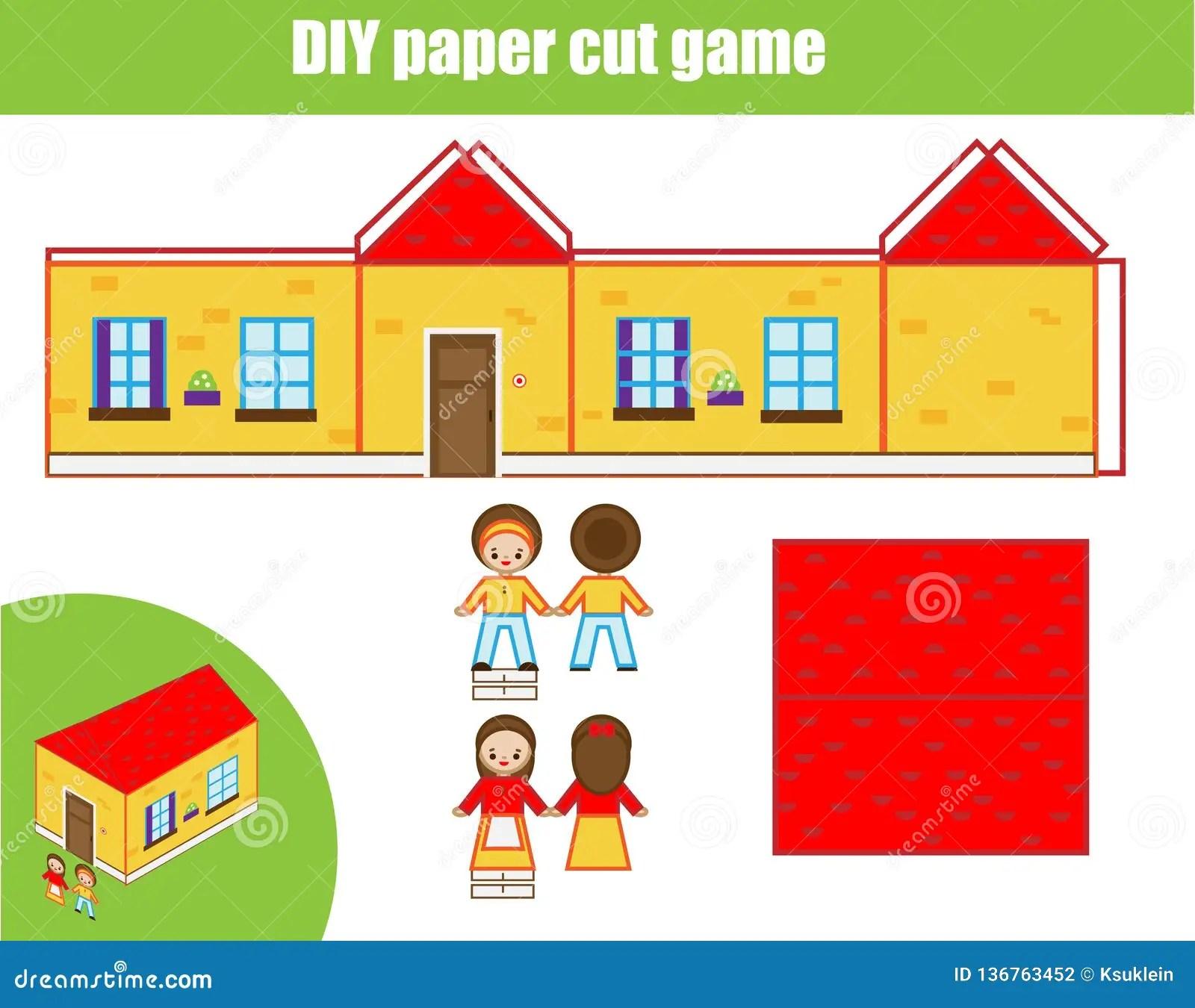Cut And Glue Paper Game Educational Children Diy Craft