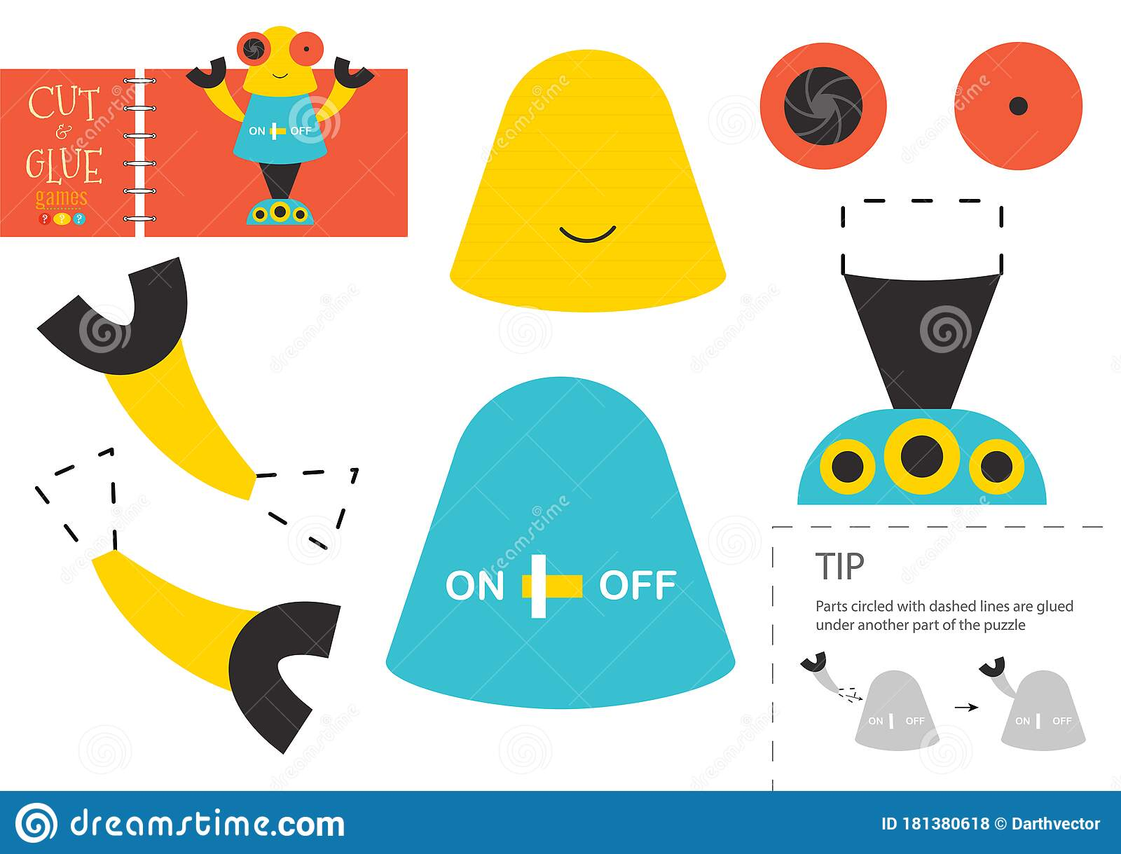 Cut And Glue Paper Toy Vector Illustration Worksheet