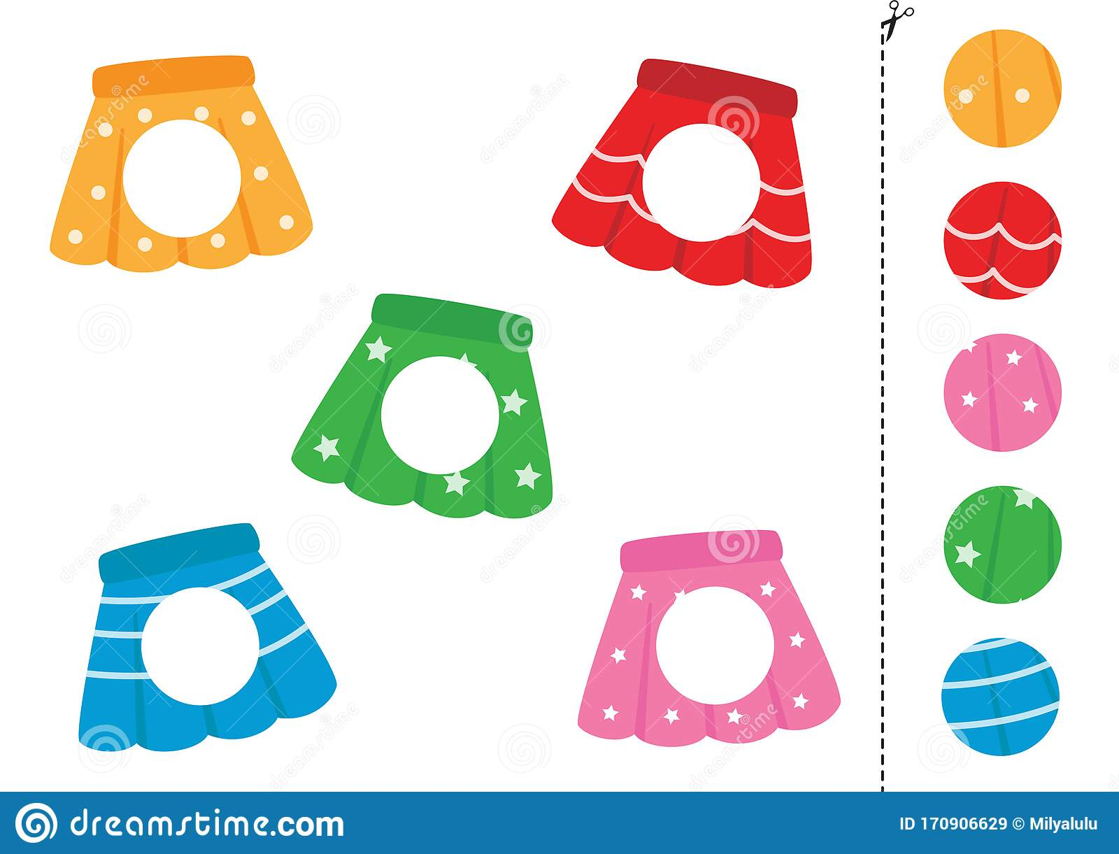 Cut And Glue Parts Of Skirts Game For Kids Stock Vector