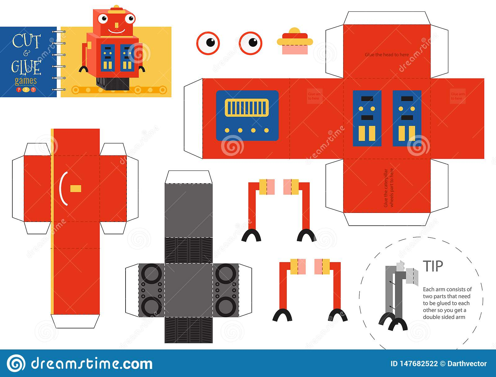 Cut And Glue Robot Toy Vector Illustration Stock Vector