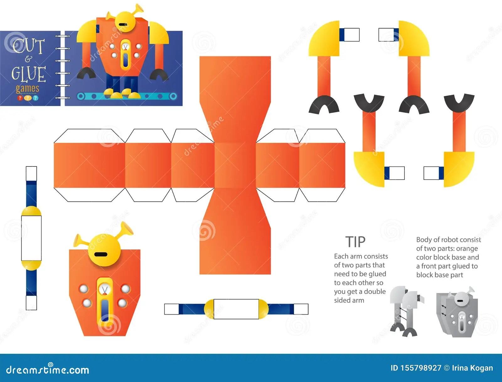 Cut And Glue Robot Toy Vector Illustration Worksheet