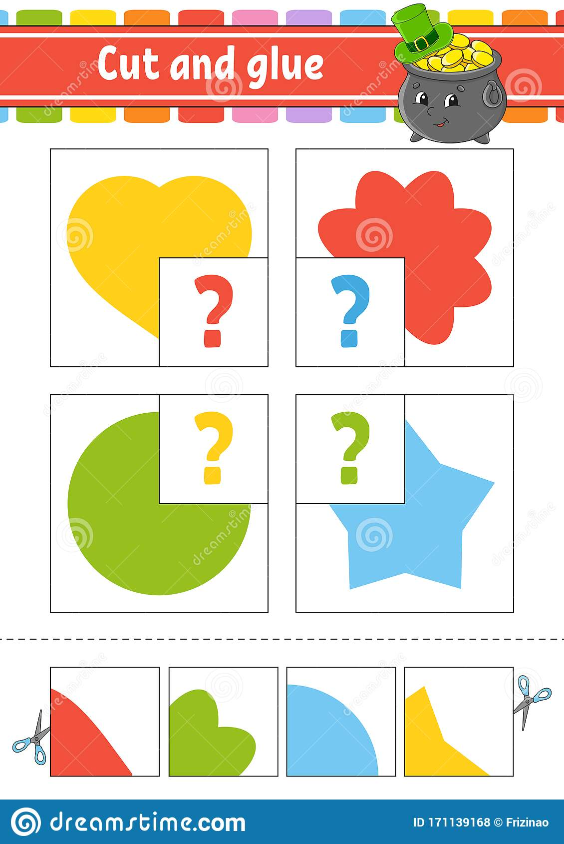 Cut And Glue Set Flash Cards Education Worksheet