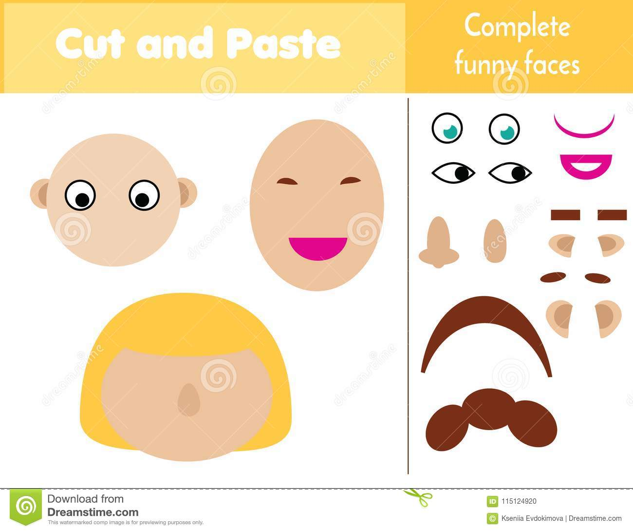 Cut And Paste Children Educational Game Paper Cutting Activity Complete Funny Faces With Glue