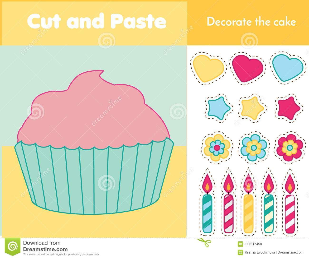 Cut And Paste Children Educational Game Paper Cutting Activity Decorate A Cupcake With Glue