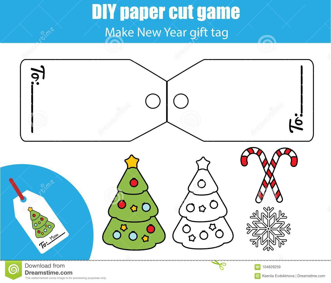 Cut And Paste Children Educational Game Paper Cutting Activity Make A New Year Christmas T