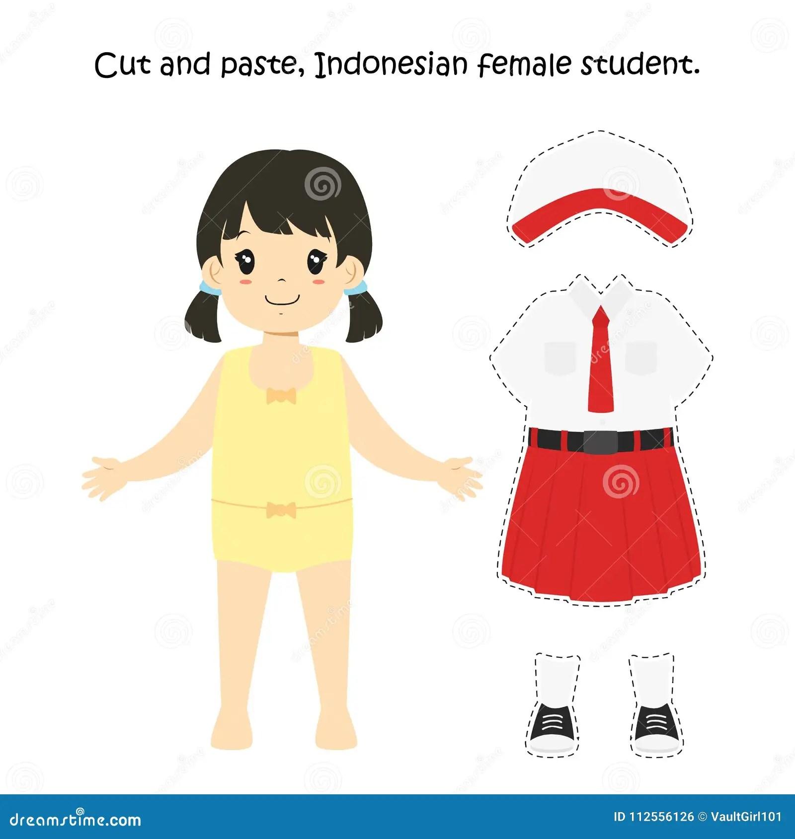 Cut And Paste Indonesische Vrouwelijke Student Uniform