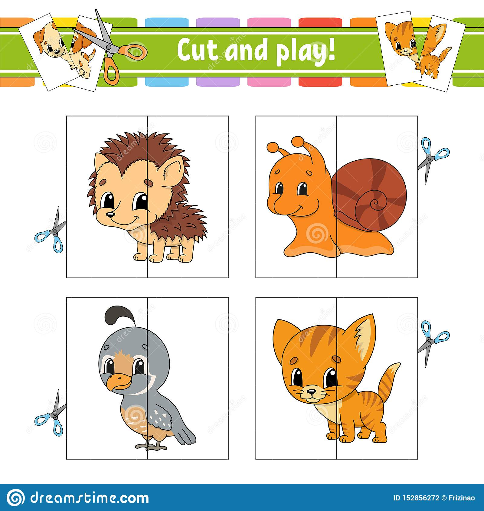 Cut And Play Flash Cards Color Puzzle Education