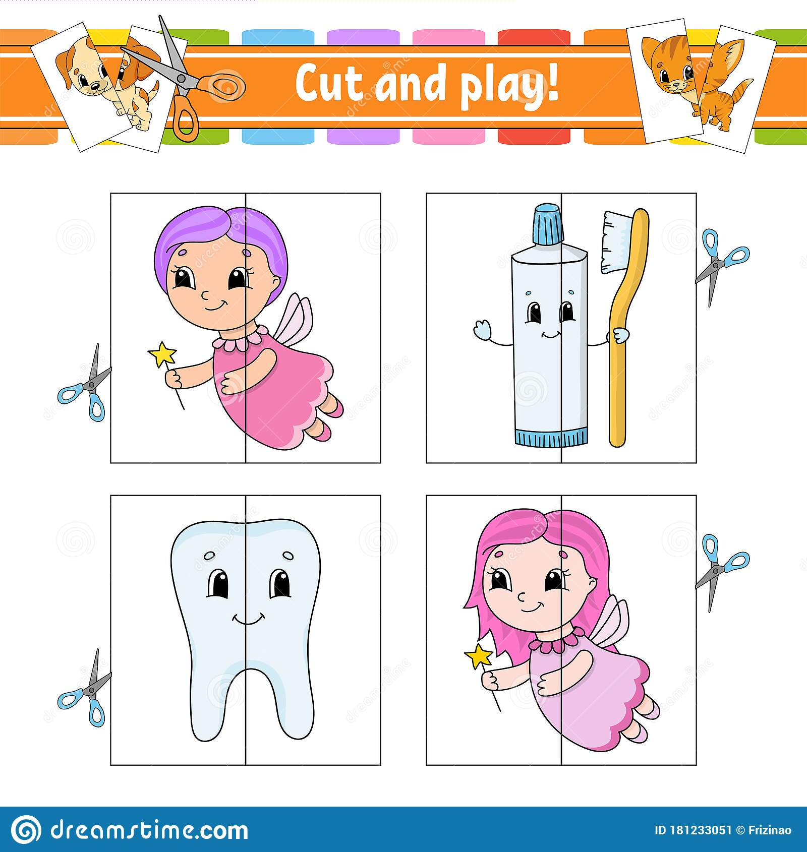 Cut And Play Flash Cards Color Puzzle Tooth Toothpaste